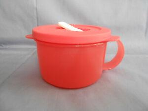 details about tupperware 2 cup crystalwave microwave safe soup mug bowl handle air vent