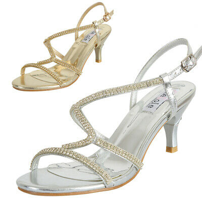 Women Rhinestone Kitten Heel Sandals Prom Evening Party Wedding Shoe Silver Gold | eBay