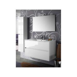 Meuble De Salle De Bain Toilette 100 Cm Suspendu Avec Evier Lavabo Vasque Blanc Ebay