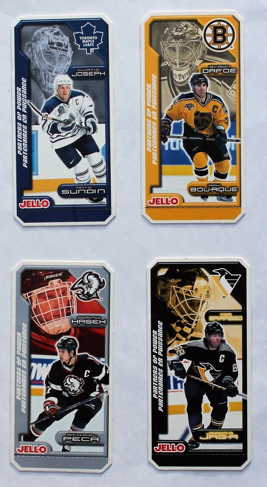 1999-00 Jell-O Hockey Card Partners of Power; Sundin; Bourque; Peca; Jagr