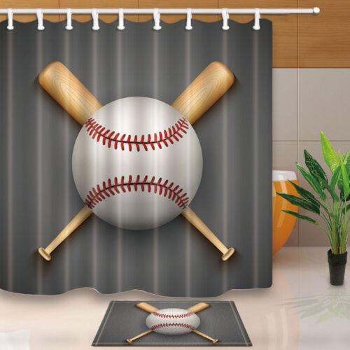 baseball and sticks waterproof polyester shower curtain plastic hooks 71inch