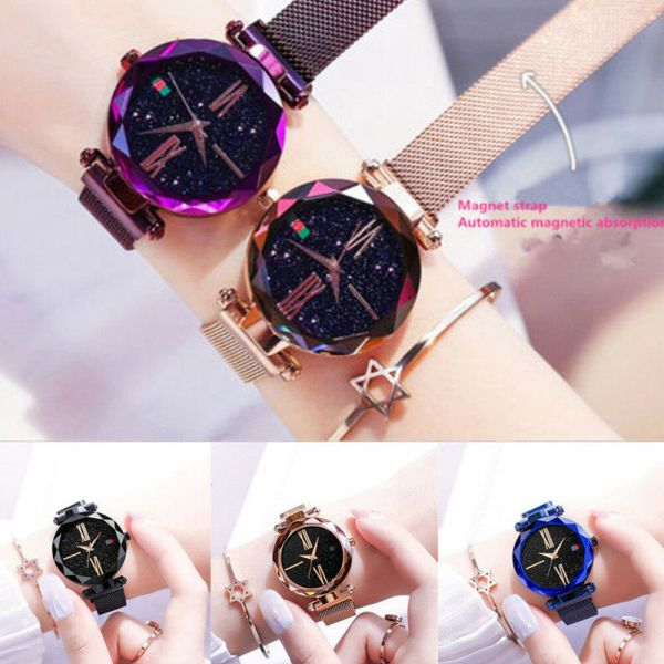 Luxury Starry Sky Masonry Watch Magnet Strap Buckle Stainless Watch Women Gift  5