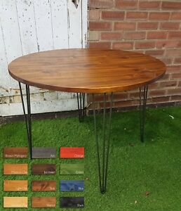 details about rustic industrial wooden dining round table metal hairpin legs different sizes