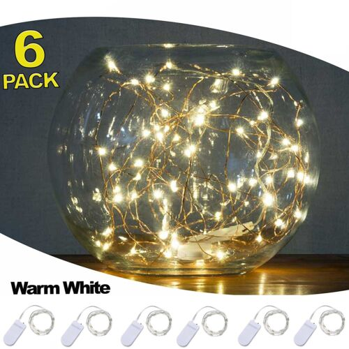 pack of 6 led moon lights 20 micro starry leds on copper extra thin silver wire lamps lighting ceiling fans fairy