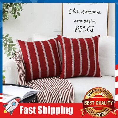 2 pcs red burgundy 18 x 18 inches modern farmhouse striped cushion pillow covers ebay