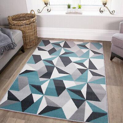 Duck Egg Blue Grey Patchwork Living Room Rug Kaleidoscope Geometric Area Rugs Uk Ebay