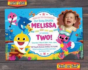 details about baby shark birthday invitation baby shark birthday party invitation