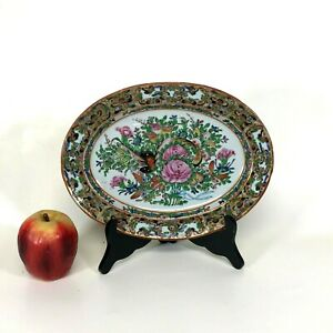 Antique Chinese Porcelain Rose Medallion Platter W/ Butterfly Decoration