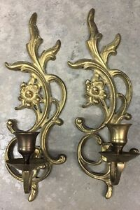 Vintage PAIR of Solid Brass Flower Wall Sconces - Candle ... on Candle Wall Sconces With Flowers id=19660