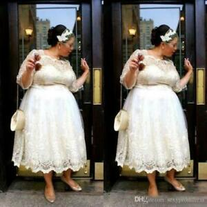 Plus Size Tea Length Wedding Dresses A Line Bridal Gowns 3 4 Sleeves Custom Made Ebay
