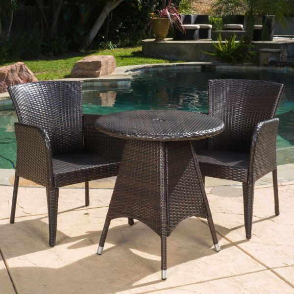 3 piece wicker patio furniture set Outdoor Patio Set Modern Rattan Bistro Contemporary Wicker