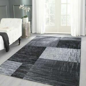 details sur tapis design moderne a carreaux motif a poils ras mouchete noir gris blanc
