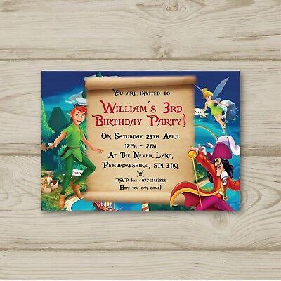 peter pan tinkerbell captain hook personalised birthday party invitations ebay