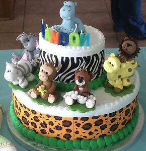 Cake Topper Jungle Animals Baby Shower Or Birthday Set Of