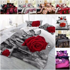 details about 3d duvet cover set complete bedding set with fitted sheet pillow case 20 designs