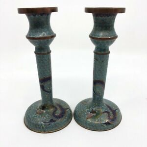 ANTIQUE CHINESE QING CLOISONNE 5 CLAWED DRAGON CHASING PEARL CANDLESTICK PAIR