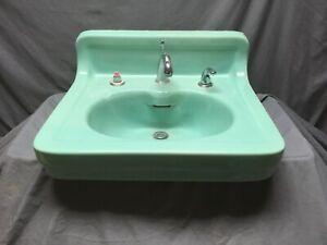details about antique ceramic aqua marine green wall mount bath sink old vtg kohler 45 19e