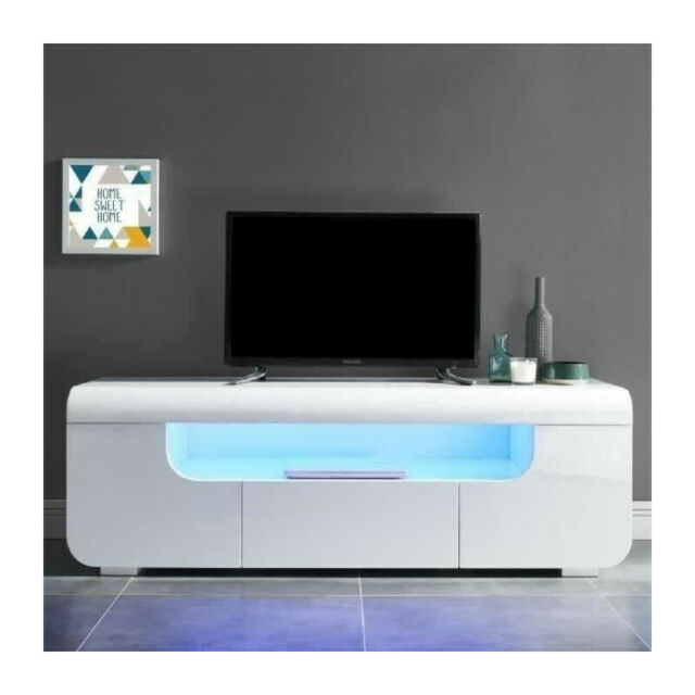 miami meuble tv avec led contemporain laque blanc brillant l 150 cm