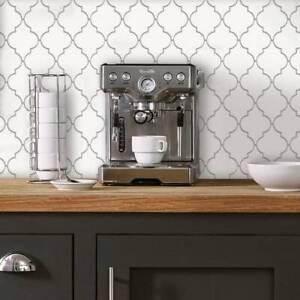 details about quatrefoil farmhouse white and gray modern peel and stick backsplash tile diy