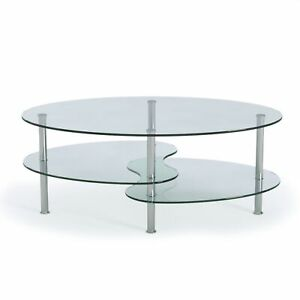 details about ryan rove ashley oval two tier glass coffee table coffee tables for livin
