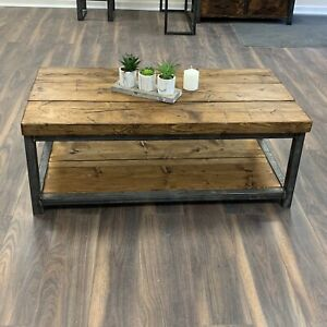 details about heavy coffee table solid wood rustic handmade pine industrial welded frame chic