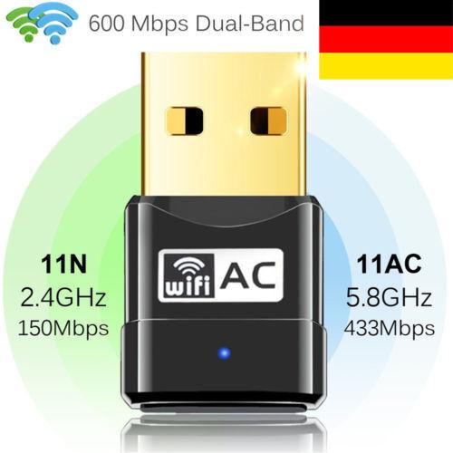 AC600Mbps WLAN Stick Dual Band 2.4GHz/5GHz WIFI Dongle USB Adapter CD Treiber DE
