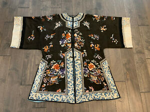 Antique Chinese Qing Dynasty Silk Robe Textile w/ Floral Vase & Butterfly Dec.