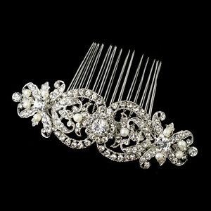 antique silver rhodium clear rhinestone freshwater pearl bridal hair b ebay