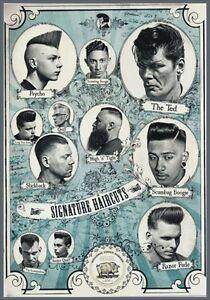 details zu targa vintage 1960 hair cuts barber shop pubblicita advertising poster plate