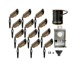 details about led outdoor low voltage brass spot light landscape lighting kit lights 12 pack