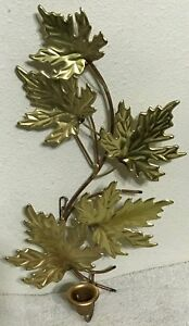 Homco Home Interiors Gold Colored Leaves Sconce Metal Wall ... on Decorative Wall Sconces Candle Holders Centerpieces Ebay id=55169