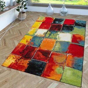 details sur tapis de createur a poils ras motif carreaux abstraits degrade couleurs vives