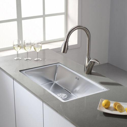 28 x18 x9 deep stainless steel 18 gauge undermount single bowl kitchen sink bathroom sinks home improvement