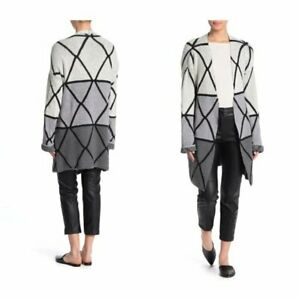 details about nordstrom rack joseph a ombre grid knit construction cardigan gray combo size l