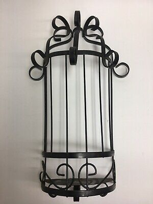 Vintage Wrought? Iron Wall Sconce Candle Holder Black ... on Antique Wrought Iron Wall Candle Holders id=92325
