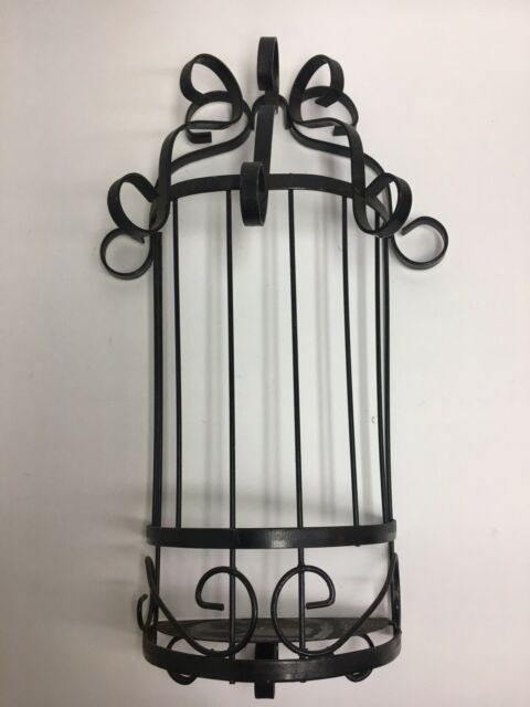 Vintage Wrought? Iron Wall Sconce Candle Holder Black ... on Black Wrought Iron Wall Candle Holders id=55142