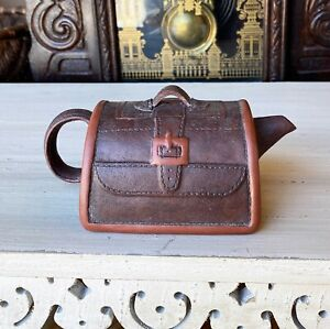 RARE Vintage CHINESE Yixing hand made SUITCASE Mineral Clay Teapot LUGGAGE