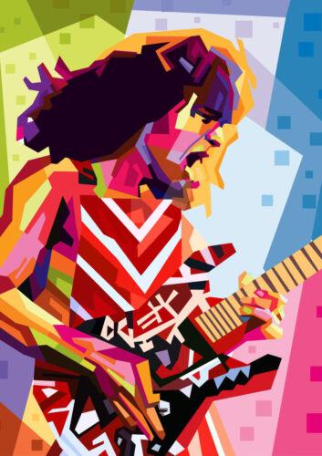 art print poster canvas eddie van halen plays guitar in concert
