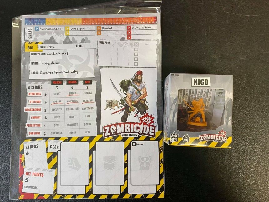 Image 1 - Zombicide 2nd Ed KS Exclusive Nico Survivor w/ Zombicide Chronicles Stat Sheet