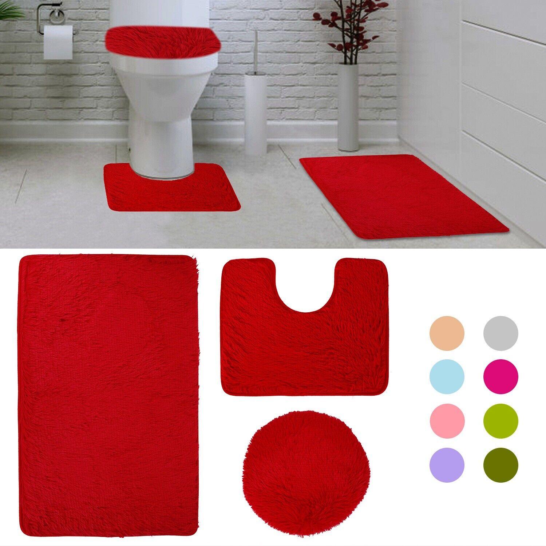 3 piece bathroom rug set bath rug contour mat lid cover plush non slip absorbent