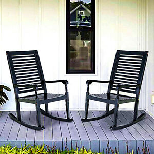 details about outdoor rocking chairs set of 2 acacia wood patio chair for deck balcony porch
