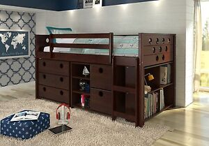 details about loft bed with storage bookshelves and dresser in one