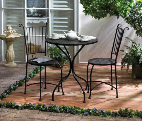 yard garden outdoor living 3 piece patio bistro set table and 2 chairs black metal new patio garden furniture