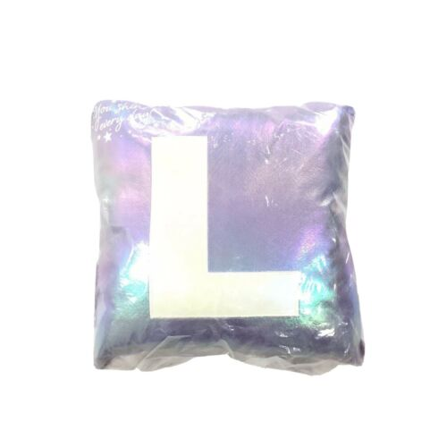 new justice for girls letter l purple shiny holographic initial pillow kids nwt