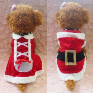 Chrismas Santa Costume Puppy Pet Dog Dress Apparel Hoodie Coat Clothing Outwear
