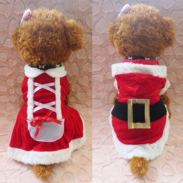 Chrismas Santa Costume Puppy Pet Dog Dress Apparel Hoodie Coat Clothing Outwear
