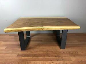 details about 24x48 live edge suar wood slab coffee table top with square black metal base