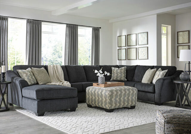 new large sectional living room furniture 4pcs gray fabric sofa chaise set g2g