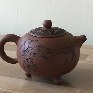 Lovely Chinese Yixing Teapot Signed with Boy Flying Kite
