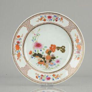 Antique 18C Qing Chinese Export Porcelain Famille Rose Tabacco Leaf Plat...